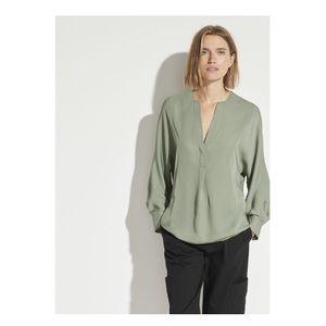 Vince Silk Half Placket Blouse Sage Green Size S